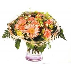 Jarrón de flores tonos rosas (F143)
