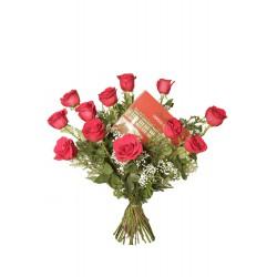 Ramo de rosas rojas con bombones (F125)