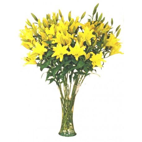Jarrón de lilium amarillo (F157)