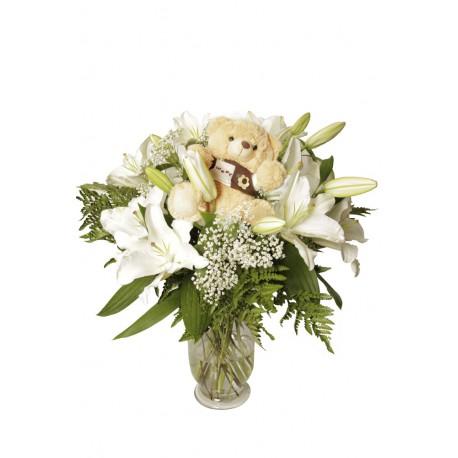 Jarrón de Lilium blanco con oso (F123)