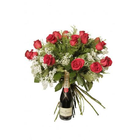 Ramo de rosas con Moët & Chandon (F128)